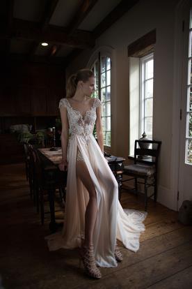שמלת כלה שסעים שמנת