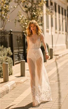 שמלה כלה מתחרה שקופה