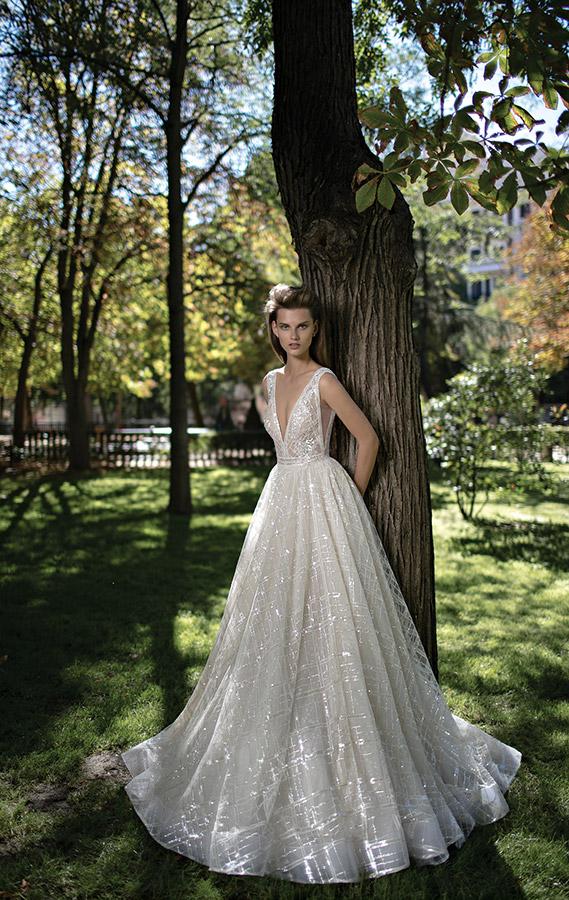 שמלת כלה דוגמת משבצות נוצצות