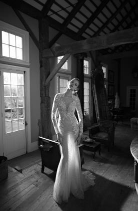 שמלת כלה תחרה מקסי שובל