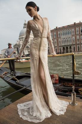 שמלת כלה שמנת חרוזי ברונזה