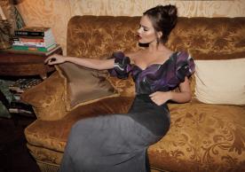 שמלת ערב הדפס סגול