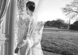שמלת כלה שרוולים כיווצים בגב