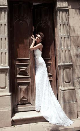 שמלת כלה כפרית עם שובל ארוך
