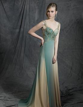 שמלת ערב נסיכתית בגווני ירוק