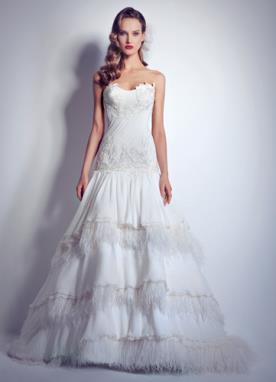 שמלת כלה למראה נסיכותי מעוטרת