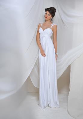 שמלת כלה קלאסית עם כתפיות תחרה