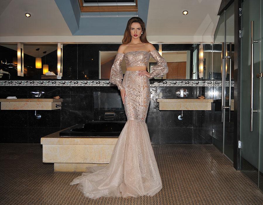 שמלת ערב כסופה בדגם בת ים