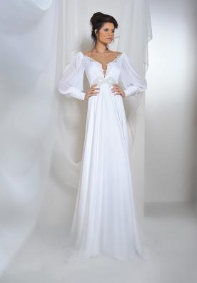 שמלת כלה עם שרוולי תחרה רחבים