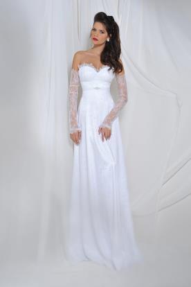 שמלת כלה סטרפלס עם שרוולי תחרה