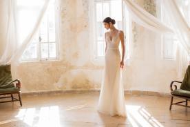 שמלת כלה מקסי תחרה עם חגורה