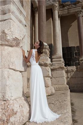 שמלת שיפון עם גב חשוף עמוק