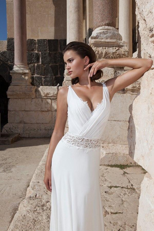 שמלת שיפון עם פס חגורה תחרה בבטן