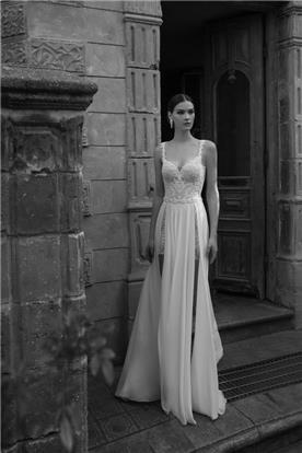 שמלת תחרה שיפון עם שסעים בצדדים