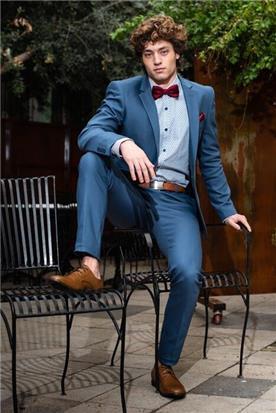 חליפת חתן: חליפת שלושה חלקים, חליפה בגזרה ישרה, חליפה בדוגמה חלקה, חליפה בצבע כחול - סאלינה  SALINA - חליפות חתן