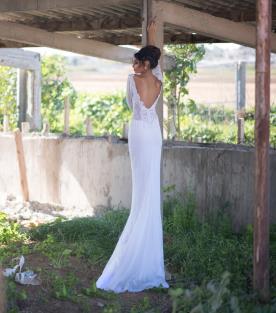 שמלת כלה כפרית שרוולים ארוכים