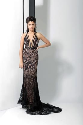 שמלת ערב תחרה ומחשוף