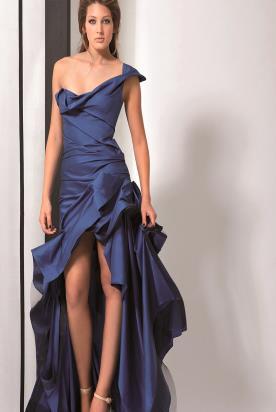 שמלת ערב כחולה אסימטרית