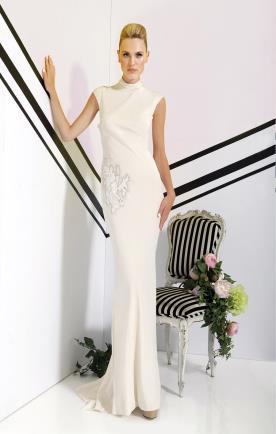 שמלת כלה מינימליסטית בצבע קרם