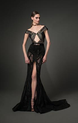 שמלת כלה שחורה מעוטרת זהב