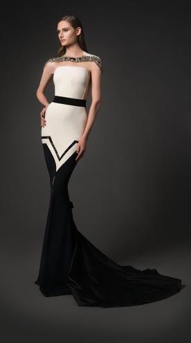 שמלת ערב שחור לבן עם אבנים