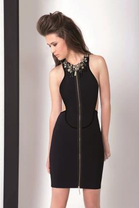 שמלת ערב שחורה עם רוכסן