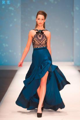 שמלת ערב חצאית משי כחולה