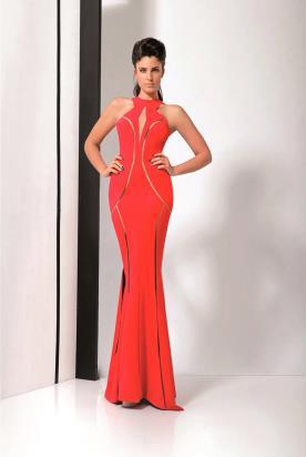 שמלת ערב אדומה עם חתכים