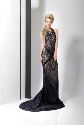 שמלת ערב שחורה שובל משי