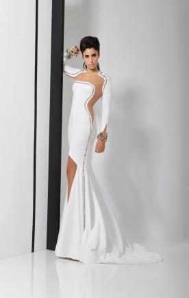 שמלת כלה לבנה עם קליסטלים