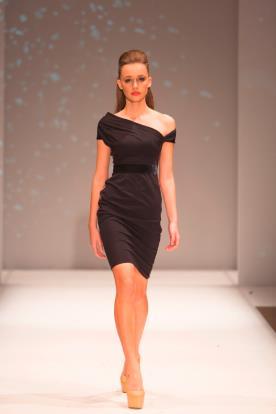 שמלת ערב אסימטרית מיני חום