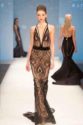 שמלת ערב שובל תחרה קצר