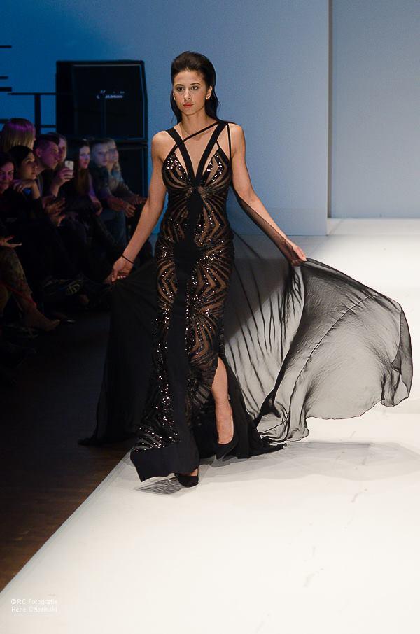 שמלת ערב שחורה נוצצת קוטור