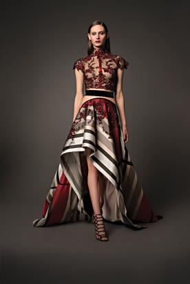 שמלת ערב תחרה ומשי מודפס
