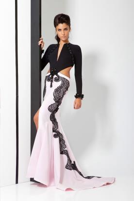 שמלת ערב שחור עם ורוד