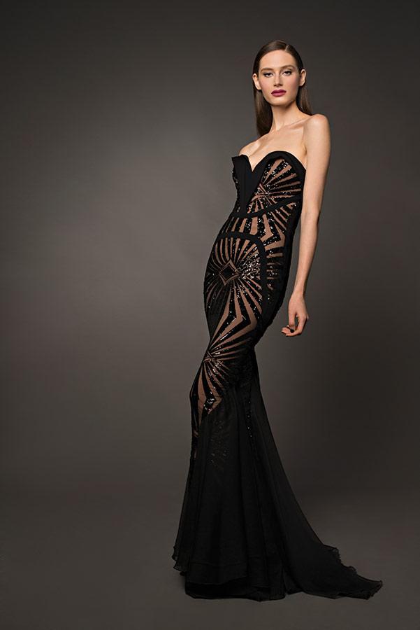 שמלת ערב שחורה נוצצת