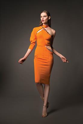 שמלת ערב כתומה אסימטרית