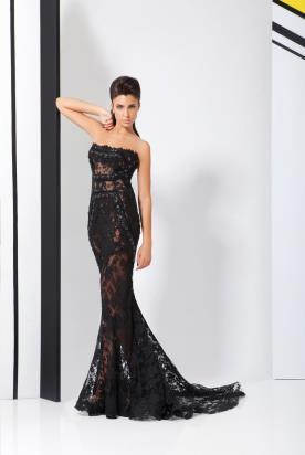 שמלת ערב שחורה תחרה ואבנים