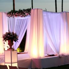 עיצוב חופה עם תאורה פנימית ופרחים
