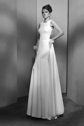 שמלת כלה טופ תחרה וחצאית משי
