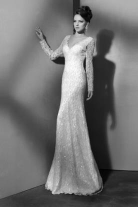 שמלת כלה מחורזת שרוול ארוך