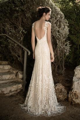 שמלת כלה תחרת שמנת וכתפיות