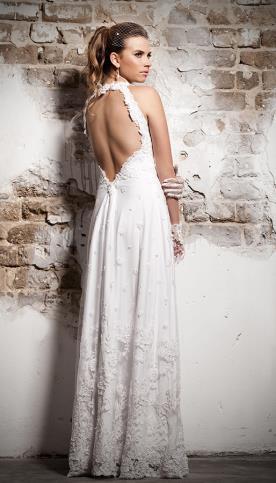 שמלת כלה גב חשוף וקולר