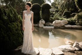 שמלת כלה שמנת כתפיות תחרה