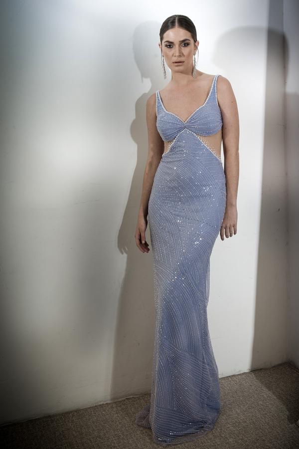 שמלת ערב משולשים בבטן מחורזת
