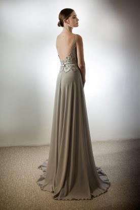 שמלת ערב מקסי אפורה גב פתוח
