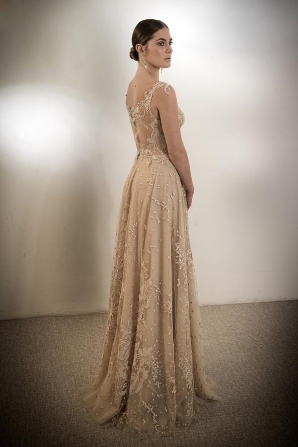 שמלת ערב גב תחרה צבע קרם