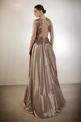 שמלת ערב גב תחרה שקוף מקסי