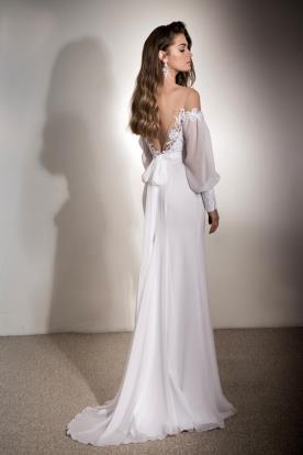 שמלת כלה אלגנטית גב פתוח ופפיון