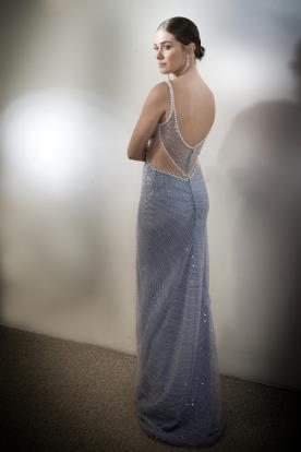שמלת ערב גב חשוף תכלת מחורז